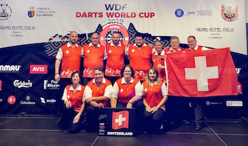 Switzerland's National Darts Team at WDF World Cup's Opening Ceremony in Cluj-Napoca, Romania on 7 October 2019
